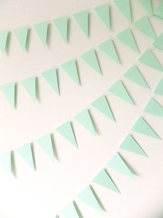 Paper Garland  Mint Green Bunting Flags  20ft by FunkyFrillsUK, £11.95