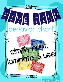 This is a 5 tier behavior chart for elementary aged students.   It is very flexible to suit the needs of any classroom! For my classroom, I printed it out, laminated it, and attached magnets to it so I could put it on my white board. You can use clips or magnets to keep track of your students' behavior! I use magnets.  I hope you enjoy this product and find it useful to managing your the behavior of your classroom!  Georgia Peach Teacher