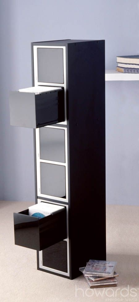 """600 CD/DVD Tuxedo One Touch Tower, convenient way to store all your DVDs and CDs together. 5 """"one touch"""" spring eject drawers. 300 Clear double sided inserts to store your discs, no cases needed. Narrow and tall which will make it easy to fit into any room. Sturdy and durable. Available from Howards Storage World. #howardsstorage #christmaswishlist"""