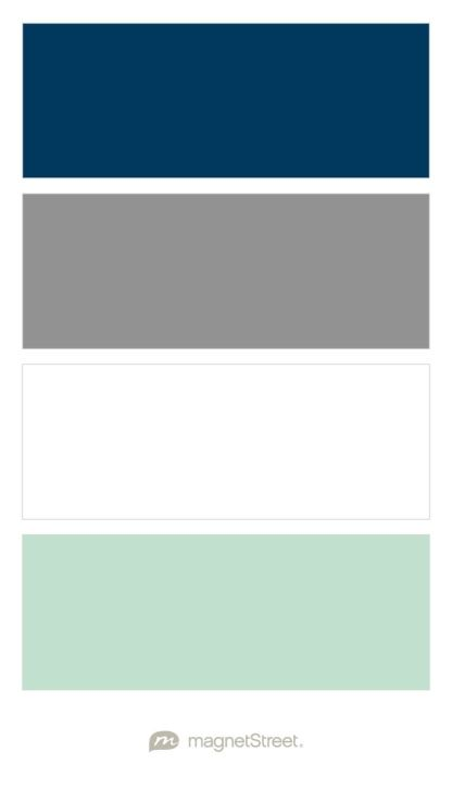Navy, Classic Gray, White, and Celadon Nursery Color Palette - custom color palette created at MagnetStreet.com                                                                                                                                                     More