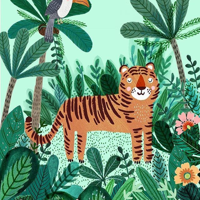 One reason that my artist Rebecca Jones gets so much work is that, here, for example, every single leaf is beautifully rendered. In other words, it's about attention to detail. @drawnbyrebeccajones Rebecca writes: Tiger poster I designed especially for @psikhouvanjounl 🐯🌿#petitmonkey #illustration #tiger #jungle #rebeccajones #lillarogers #positivevibes