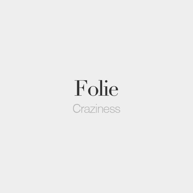 Folie (feminine word) | Craziness | /fɔ.li/