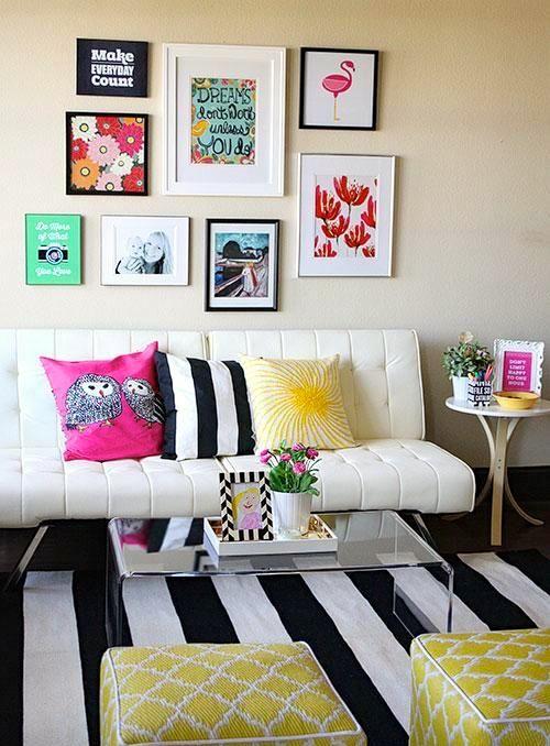 Montagem de quadros na parede pesquisa google for Ideas decorativas para salas