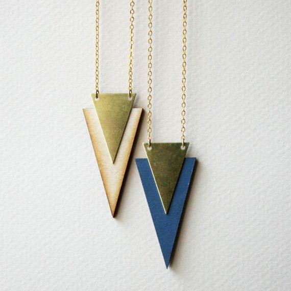 Wooden chevron necklace wood laser cut brass triangle laser cut color block geometric tribal aztec retro dusty blue chevron arrow on Etsy, $13.00