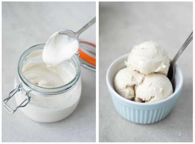 Raw Probiotic Cashew Yoghurt (and Frozen Yoghurt). Using cashew nuts, water, maple syrup, vanilla, salt, probiotic powder or capsules. http://wallflowergirl.co.uk/raw-probiotic-cashew-yoghurt-frozen-vegan/