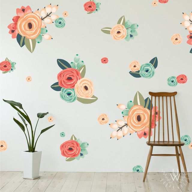 An Assortment Of Small And Large Floral Wall Stickers Spaced In A Pattern  On A Grey Part 29