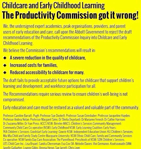 Public declaration by key players that The Productivity Commission got it wrong!  @LisaJBryant: Have you seen this ad in the SMH today? #eca2014 #ozearlyed #auspol