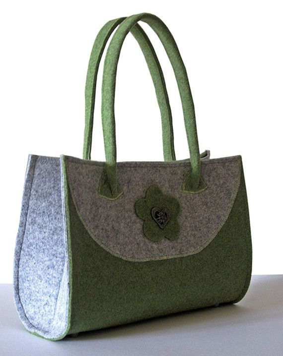 Handbag Felt noble Felt Purse green / gray by MargritliDesign