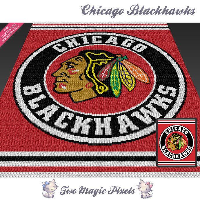 Chicago Blackhawks c2c graph crochet pattern; instant PDF download; bed blanket…