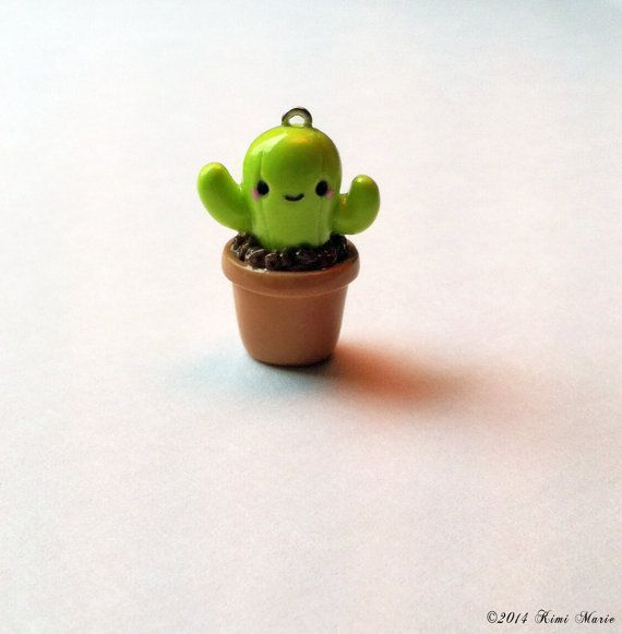 Kawaii Cactus Charm Potted Cactus Charm Polymer Clay por FemininCo