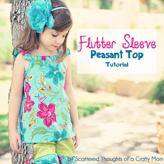 Flutter Sleeve Peasant TopScattered Thoughts, Peasant Tops, Crafty Mom, Flutter Sleeve, Tops Tutorials, Free Pattern, Sewing Pattern, Sewing Tutorials, Sleeve Peasant