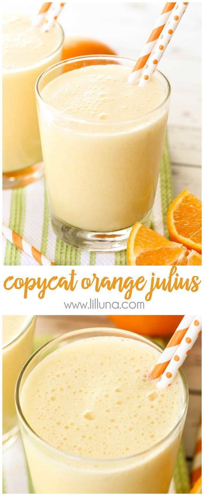 Copycat Orange Julius recipe - takes just a minute to make and is a favorite family treat!  Recipe on { http://lilluna.com }