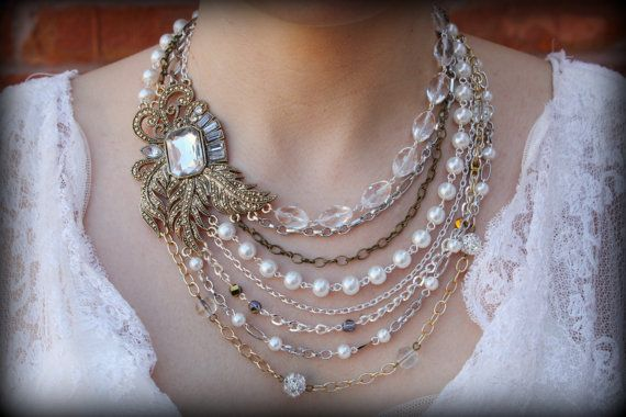 Pearl Statement Necklace-Vintage Necklace-Bib Necklace-Wedding Jewelry-Bridal Necklace-Rhinestone Brooch-Pearl Necklace-Dream Day Designs on Etsy, $129.00  - I like the idea/ less of a choker though