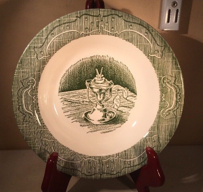 "The Old Curiosity Shop SOUP BOWL  8.5"" Green Royal China Oil Lamp #Oldcuriousityshop #oldecuriousityshop #soupbowl #vintagebowl #royalchina #vintage"