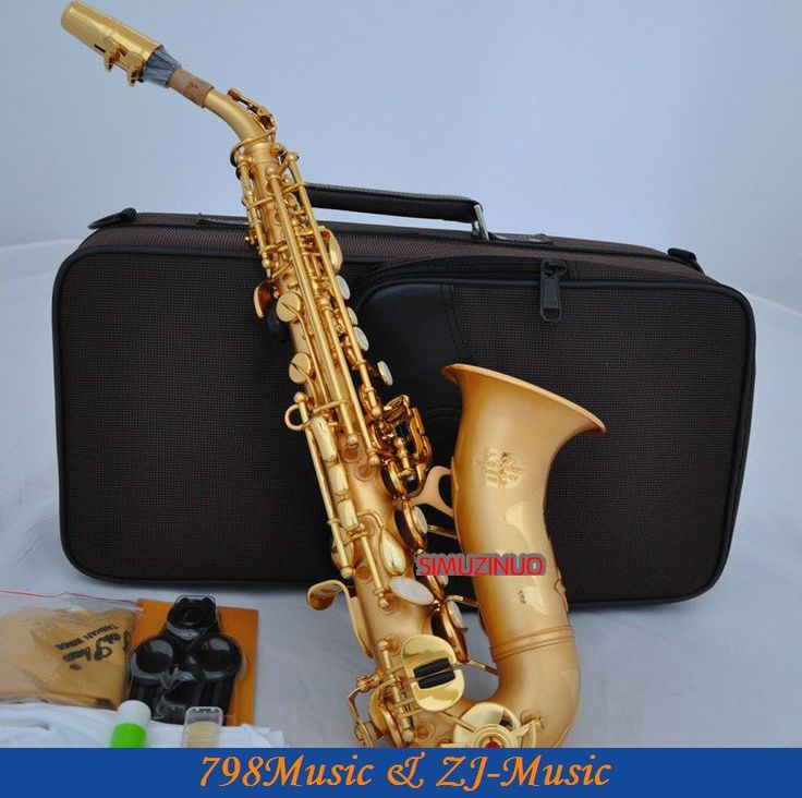 Satin Gold Curved Soprano Saxophone Bb Sax High F With Case #Affiliate