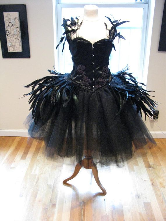 Made To Order  Deluxe Black SWAN DRESS Costume BURLESQUE  Tulle, Feathers, Masquerade, Cocktail Dress via Etsy