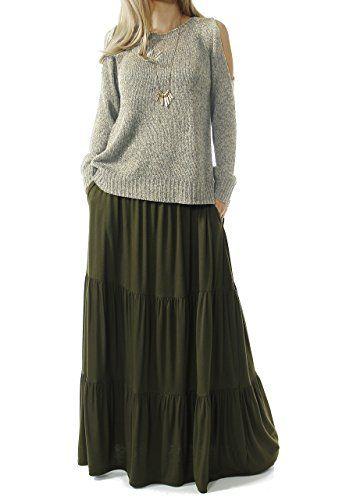 3b41cb0ad50007 TRENDY UNITED Women's Bohemian Style High Waist Shirring Ruffle Pocket Skirt  (S0059-OLV, XXL)