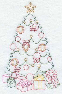 A Redwork Christmas tree machine embroidery design.