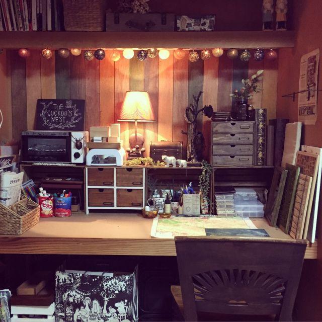 Rieさんの、DIY,和室,ナチュラル,押入れ改造,押入れリメイク,机,のお部屋写真