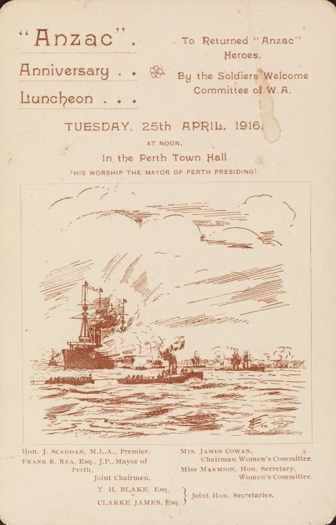 BA2676/1/3: Front: Menu and toast list for the First Anzac Day luncheon held at Perth Town Hall, 25th April, 1916.  http://purl.slwa.wa.gov.au/slwa_b4234117_2