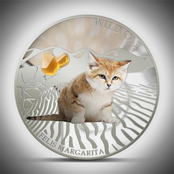 Серебряная монета. Острова Фиджи. 2 Доллара. Кошка Бархатная Песчаная (PROOF) фото