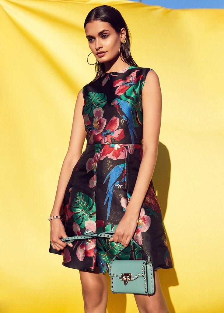 Valentino Tropical Dream Dress, Valentino Small Rockstud Shoulder Bag and Dolce & Gabbana Hoop Earrings