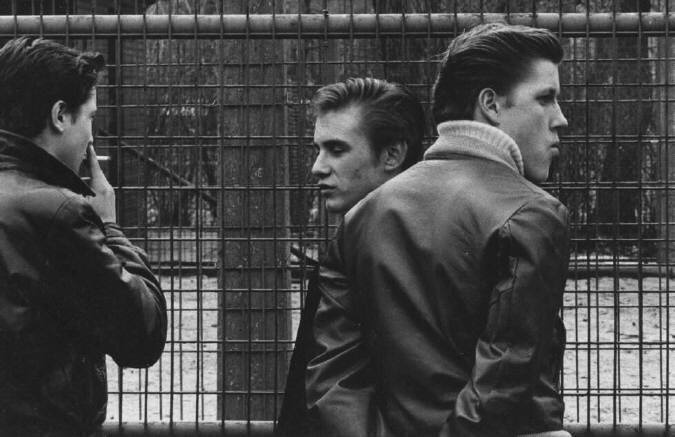 The Age of Adolescence (three boys in leather jackets). Photographed by Joseph Sterling 1959-64