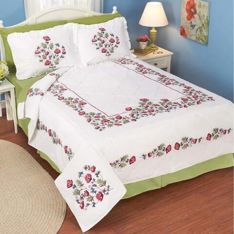 Home Décor Flower Bed Quilt Stamped Embroidery - Herrschners