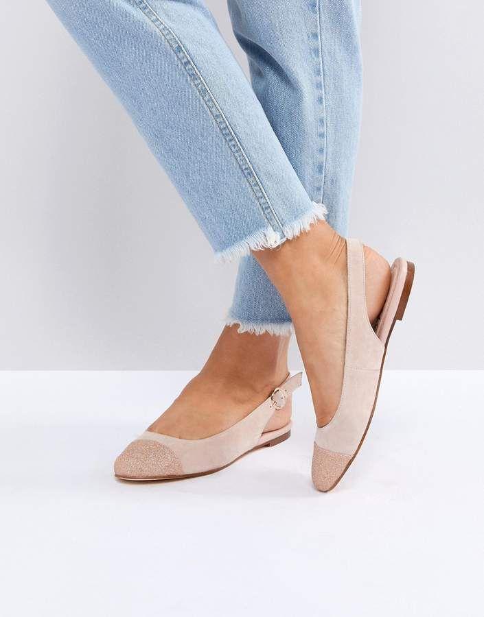 7f5a5a5f36fa Office Flossy Glitter Toe Cap Flat Shoes