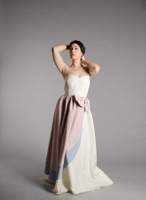 Vintage 1980s Ivory Taffeta Strapless Dead Stock Wedding Gown with Unique Dusty Pink and Lavender Color Blocking on the Right Scalloped Side, a