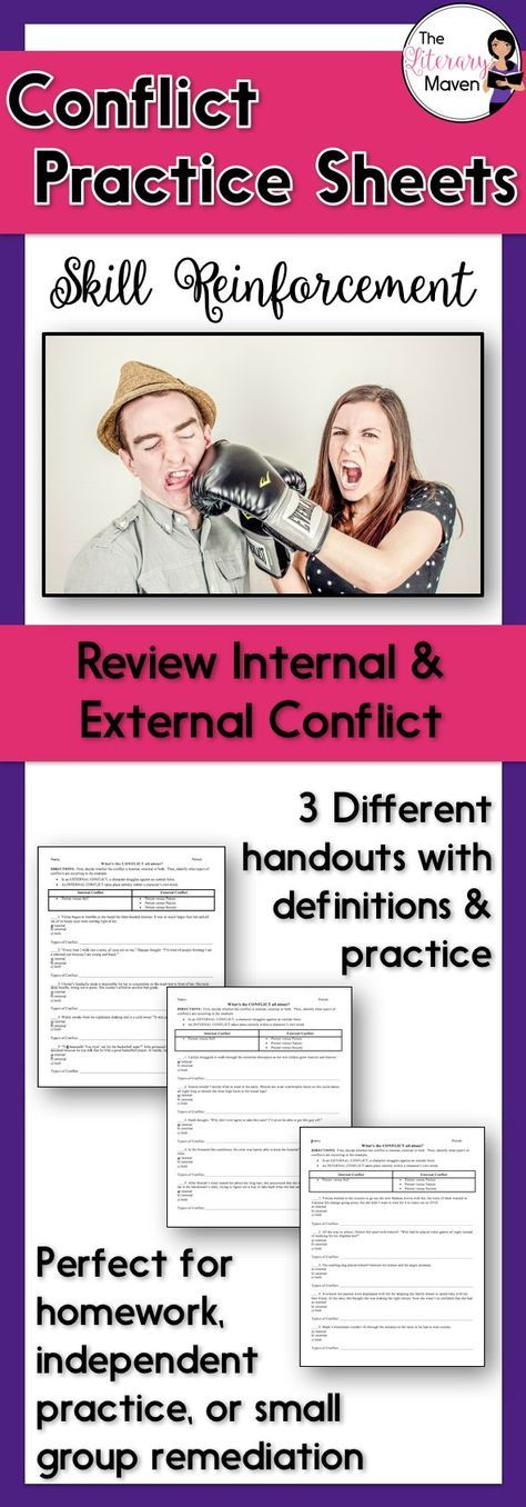 These three handouts allow students to practice categorizing a conflict as internal or external and identifying the specific type of conflict: person versus self, person versus person, person versus nature, or person versus society. Each handout reviews the definition and different types of internal and external conflict and provides five practice scenarios. These handouts could be used for homework, in-class independent practice, or small group remediation.