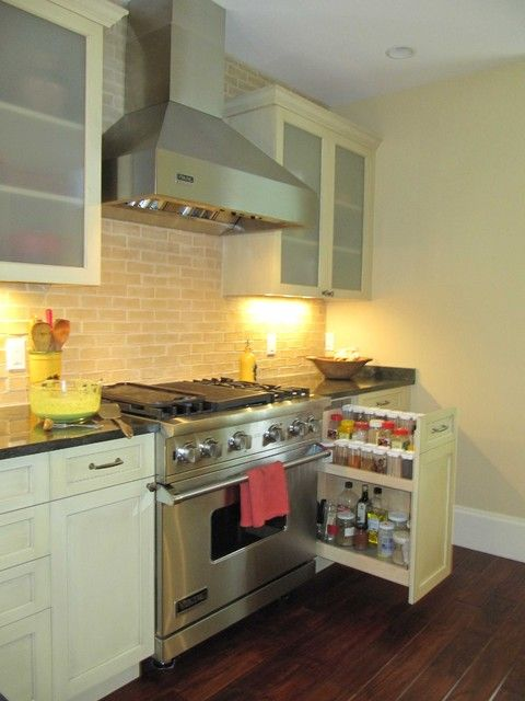 contemporary kitchen spice rack pullouts