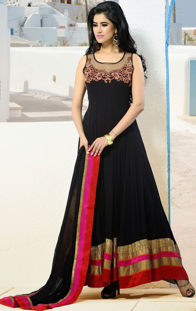 #Designer Black Churidar Suit : Do not disappear from fashion, especially if you stand a prayer of going to future seasons of fashion week, posting is must. Include yourself in the glamour of the season with this #Black Faux Georgette #Churidar Designer Suit with Dupatta. This #readymade #suit is nicely designed with cutdana, stone, kasab, resham and patch work done in form of floral motif.  | @ $159.08