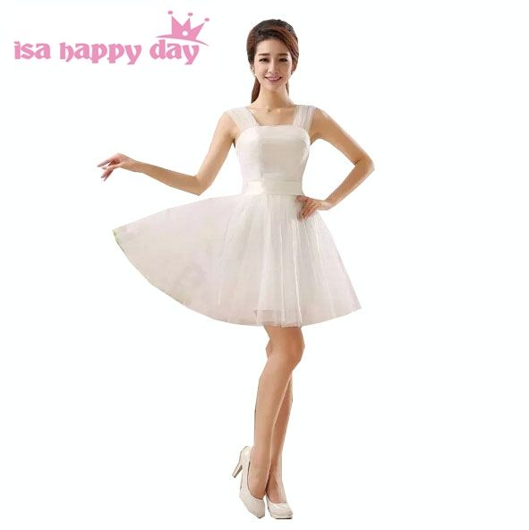 2017 girls formal lace up back bowed ivory prom dresses short princess dress tulle corset cheap prom dresses 2017 H1991