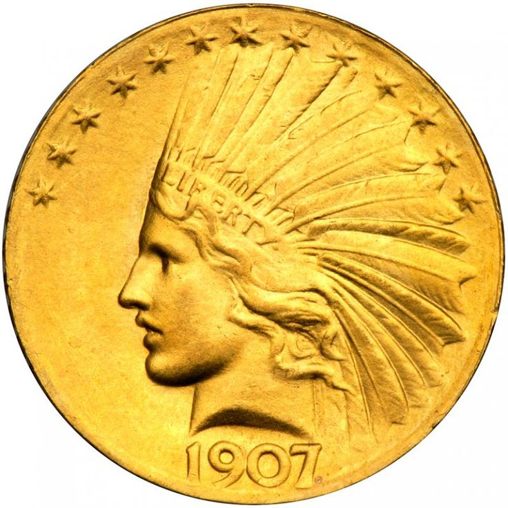 """1907. Wire Rim, Periods. PCGS MS65 A magnificent example of Augustus Saint-Gaudens' newly designed gold eagle. The satin mint surfaces are undisturbed and exhibit rich golden mint bloom color. Only 500 minted of this popular first year variety. The year 1907 was a watershed one in American numismatics. Tossed out were several run-of-the-mill coin designs that had outlived their day. President """"Teddy"""" Roosevelt, spearheaded the revolution by strong-arming the Mint to bring its coinage design…"""