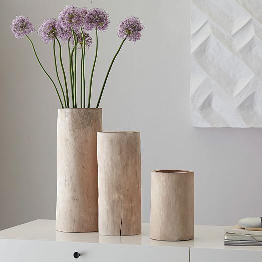 Bleached Wood Vase, Large