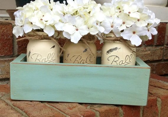 Custom Made Rustic Planter Box with 3 Painted Mason Jars. Rustic. Rustic Home Decor. Wedding Decor. Primitive. Shabby Chic. Housewears.