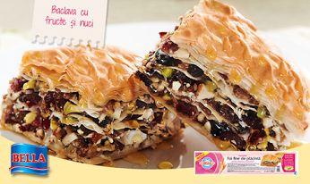 Ce ziceti de baclava cu fructe si nuci, facuta din foi refrigerate Bella pentru baclava si dulciuri?  Gasiti mai multe retete inspirate si pe blogul nostru: http://lumeaplacintelor.bellafood.ro