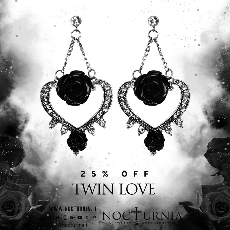 "Find ""TWIN LOVE"" earrings 25% OFF on our shop. Click here http://bit.ly/twinloveearrings Worldwide Shipping #nocturniait #blacksummersale"