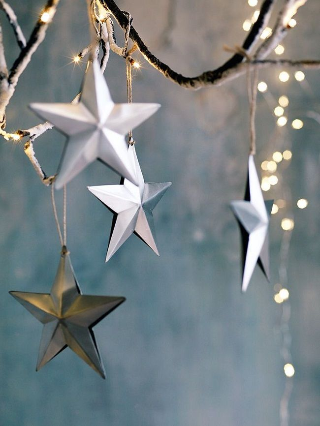 scandi christmas tree decorations, zinc hanging stars
