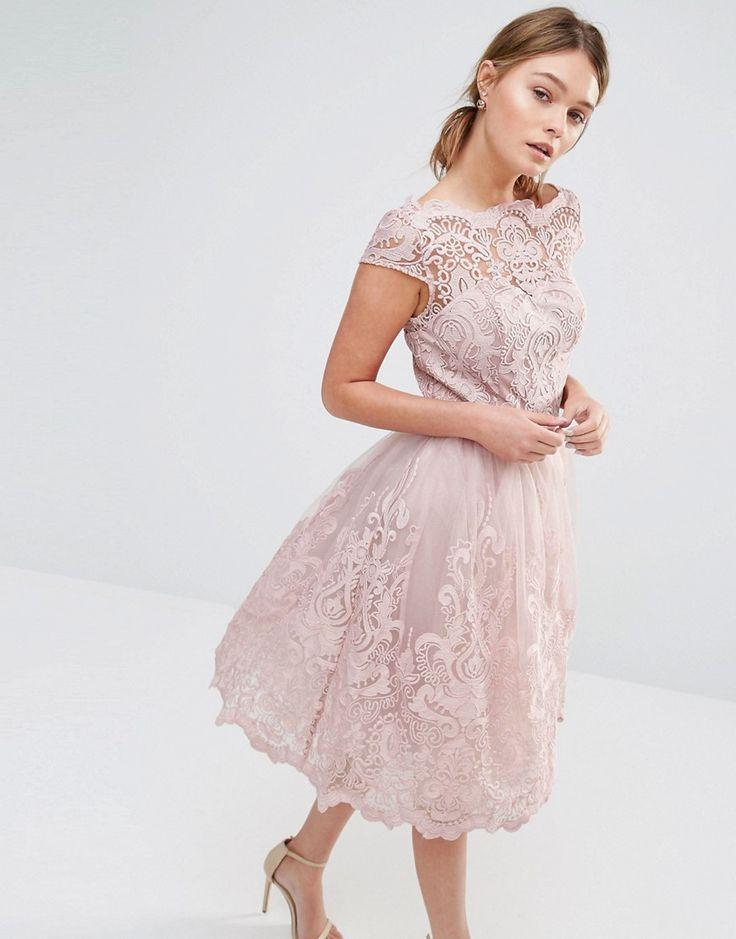 Image 1 ofChi Chi London Premium Lace Midi Prom Dress with Bardot Neck