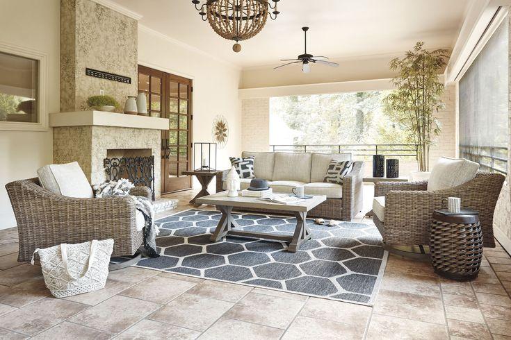 Beachcroft Beige Outdoor Living Room Set with Cushion ... on Beachcroft Beige Outdoor Living Room Set id=64601