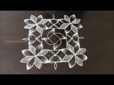 Easy Diwali Rangoli || Deepavali Special Deepam Kolam with 9x9 dots || Kolam with dots - YouTube