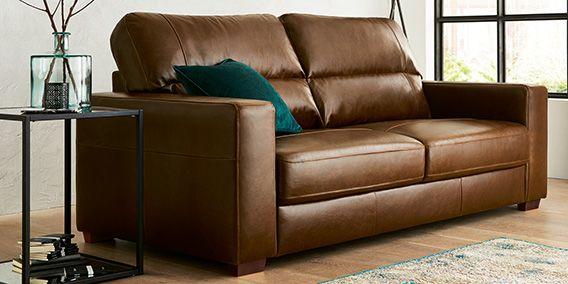 Buy Armitage leather Recliner large sofa (3 seats) Cuba Dark Tan Slim Block…