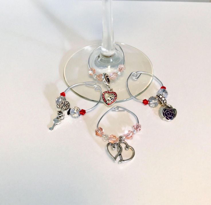 """Wine Charms (""""Wine Mom"""" Wine Glass Charms ) Tibetan Silver w/ Glass Beads Pink Charms for Mom by DashwoodCollection on Etsy https://www.etsy.com/listing/541350176/wine-charms-wine-mom-wine-glass-charms"""