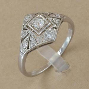 Bague Ancienne Or Gris Diamants