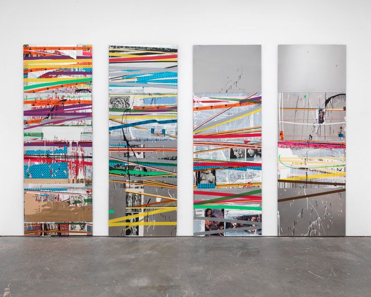 Isa Genzken  In Kinder Filmen (2005) mirrored panels, covered in a chaotic collage of adhesive tape, magazine and book pages, lacquer and spray paint, create an illusion of space, drawing attention to the power of art to subvert our preconceptions. They are suggestive of architectural façades and the information overload of urban experience.