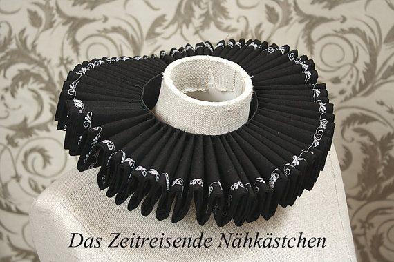 Elizabethan Ruff black gothic by TimeTravelingTailor on Etsy