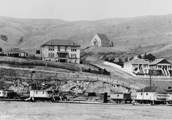 Tiburon School and St. Hilary's from the Lagoon c. 1901  - History Collections | Belvedere-Tiburon Landmarks Society