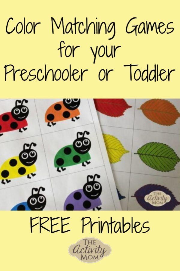 Free Printable Matching Games - Toddlers Diy Matching Games For Toddlers,  Toddler Free Printables, Preschool Games